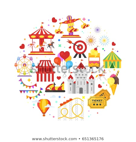 vector flat style round composition of amusement park symbols stock photo © curiosity