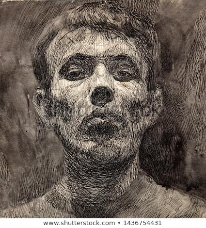 Mannelijke illustrator schets kunstenaar tekening potlood Stockfoto © stevanovicigor