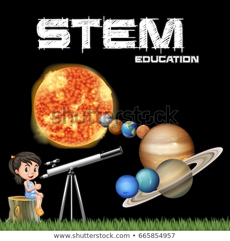 Stem education poster design with girl and solar system Stock photo © bluering