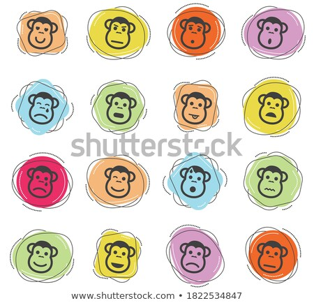 majom · érzelmek · egyszerűen · ikonok · vektor · háló - stock fotó © ayaxmr