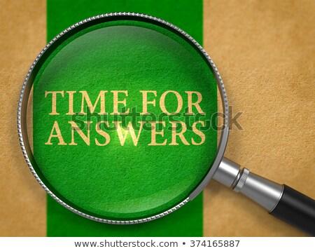 Zaman cevaplar Eski kağıt yeşil dikey Stok fotoğraf © tashatuvango