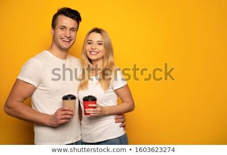 boldog · elegáns · pár · áll · néz · egyéb - stock fotó © feedough