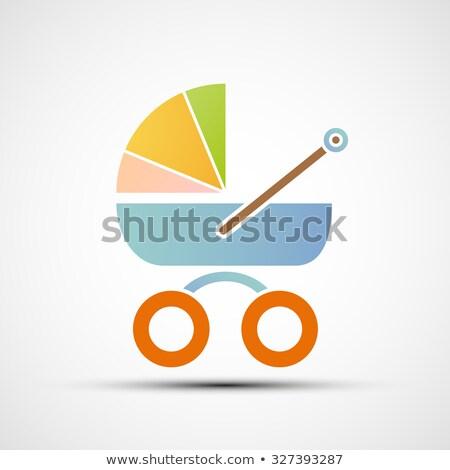 Retro kinderwagen voorraad geïsoleerd witte meisje Stockfoto © konturvid