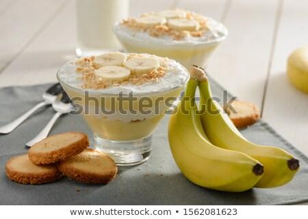 Bananów pudding domowej roboty podstaw rustykalny ciemne Zdjęcia stock © StephanieFrey