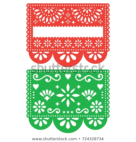 Papel Picado vector template design set, Mexican paper decorations flowers and geometric shapes, two Stock photo © RedKoala
