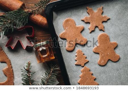 zencefil · kurabiye · Noel · tablo · mutlu · arka · plan - stok fotoğraf © tycoon