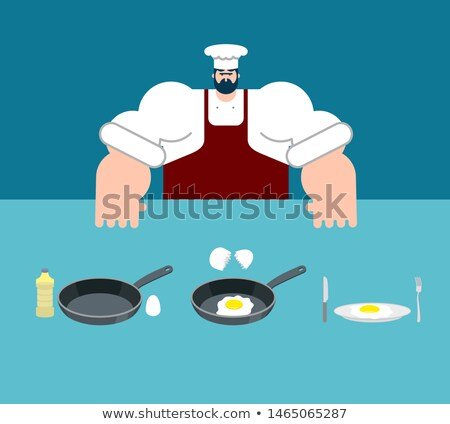 Scrambled eggs cooking instruction. Chef directions omelet. Step Stock photo © popaukropa