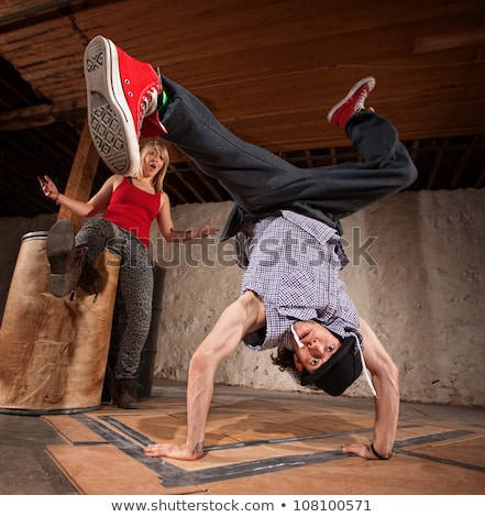 Young man upside down in mid air Stock photo © IS2