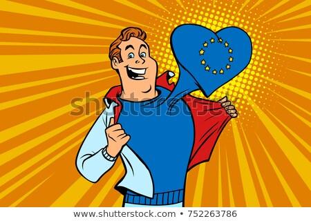 Mutlu adam fan avrupa sendika kalp Stok fotoğraf © rogistok