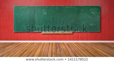 Сток-фото: Blank Blackboard On Wooden Floor