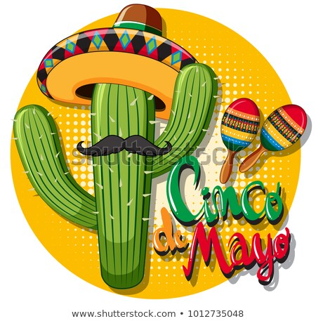 Cinco de mayo card template with cactus wearing hat Stock photo © bluering