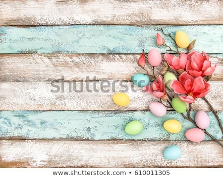 Pasen decoratie houten magnolia bloemen gelukkig Stockfoto © Zerbor