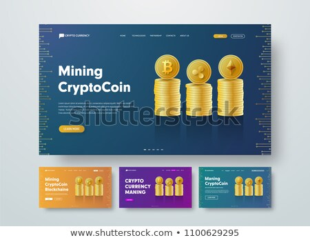 Bitcoin Banner Vector. Digital Web Money. Gold Coins Stack. Business Crypto Currency. Computer Cash  Stock photo © pikepicture
