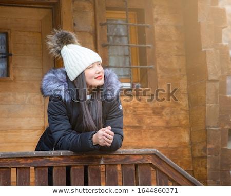nő · hógolyó · verekedés · tél · mosolyog · játszik - stock fotó © IS2