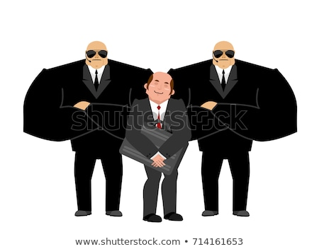 Businessman with bodyguards. VIP protection. Black suit and hand Stock photo © popaukropa