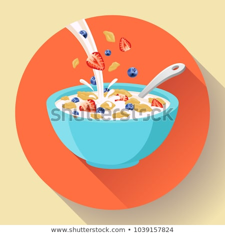Vector breakfast cereal in bowl filled with milk and berries, flat cereal bowl icon. Breakfast icon. Stock photo © MarySan