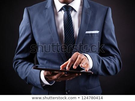 Afrikai üzletember táblagép kávéscsésze kezek vállalati Stock fotó © studioworkstock