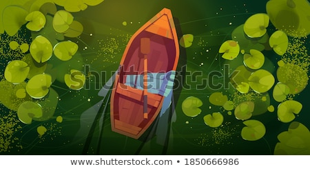 Roeiboot meer eenzaam touw reflectie vervoer Stockfoto © craig