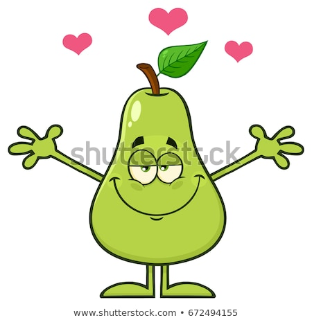 Pear Fruit With Green Leaf Cartoon Mascot Character With Hearts And Open Arms For Hugging Stock photo © hittoon