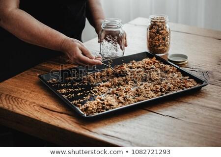 Házi készítésű granola hozzávaló étel reggeli dió Stock fotó © M-studio