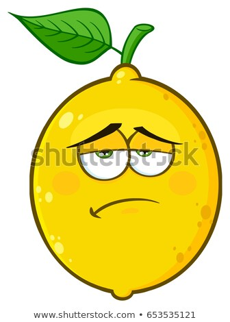 Sadness Yellow Lemon Fruit Cartoon Emoji Face Character With Tired Expression Stock photo © hittoon