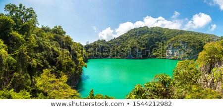 panorama · azul · esmeralda · lago · ver - foto stock © Yongkiet