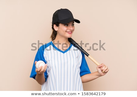 gelukkig · softbal · speler · bat - stockfoto © rastudio