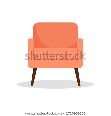 Modern orange soft armchair with upholstery - interior design element isolated on white background. Stock photo © MarySan
