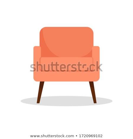 quarto · branco · poltrona · prateleiras · para · livros · ilustração · casa - foto stock © marysan