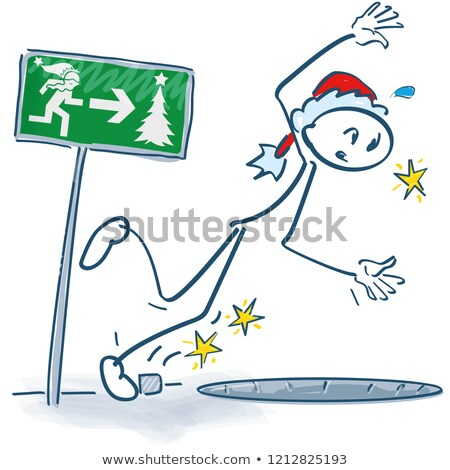 Stick figure as Nikolaus stumbles into a hole Stock photo © Ustofre9
