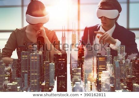 Zakenman virtueel realiteit stofbril verwonderd netwerk Stockfoto © ra2studio