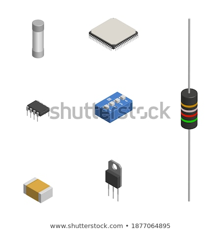 Foto stock: Set Of Different Processors In 3d Vector Illustration