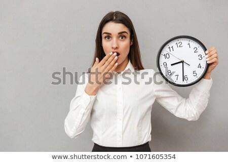 Fotografia kobieta biały shirt czarny spódnica Zdjęcia stock © deandrobot