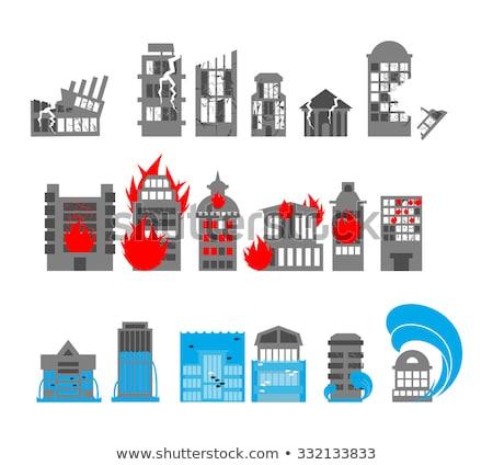 Flood and tsunami icons set houses. Flooding of buildings. Publi Stock photo © popaukropa