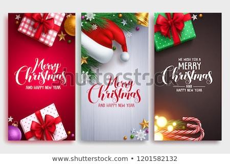 neşeli · Noel · posterler · ağaç · kardan · adam · ayarlamak - stok fotoğraf © voysla