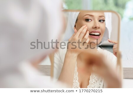 Vrouw cartoon tanden lang string flosdraad Stockfoto © blamb