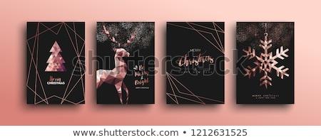 веселый Рождества розовый медь оленей карт Сток-фото © cienpies