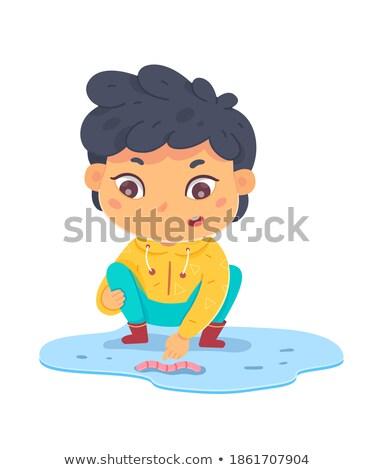 şaşırmış küçük solucan karikatür örnek bakıyor Stok fotoğraf © cthoman