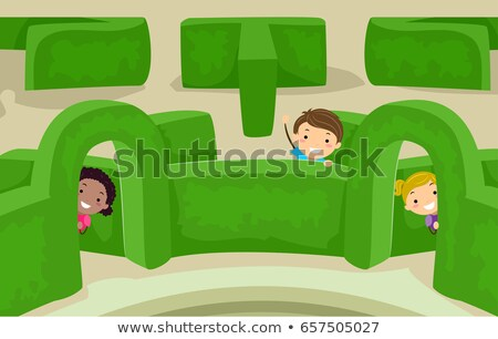 Stickman Kids Maze Garden Peek Illustration Stock photo © lenm