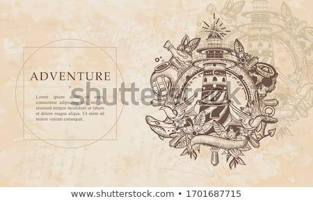 Pergamin marynarz plaży papieru sztuki podróży Zdjęcia stock © clairev