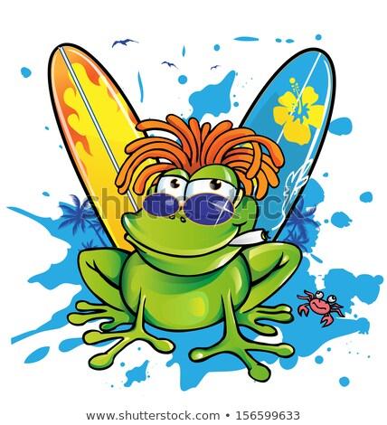 funny jamaican frog cartoon  Stock photo © doomko