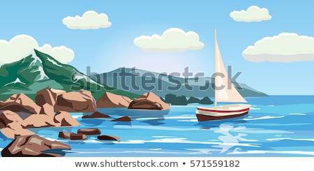 óceán szirt illusztráció égbolt tenger háttér Stock fotó © bluering