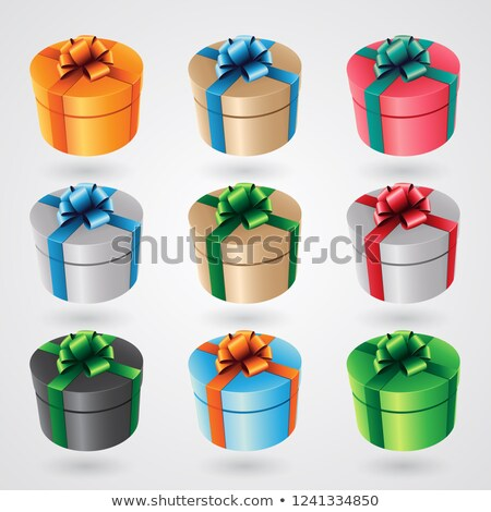 round gift boxes with glossy ribbons   set 2 vector illustration stock photo © cidepix