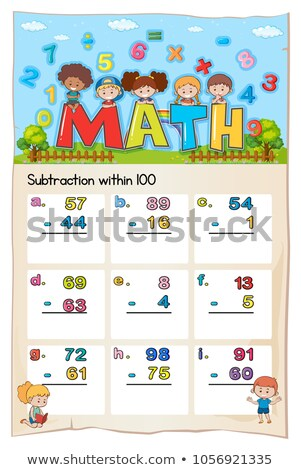 Math worksheet for subtraction within hundred Stock photo © colematt