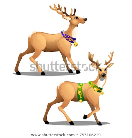 Set of animated Christmas deer with beautiful large horns, decorated collars and golden jingle bells Stock photo © Lady-Luck