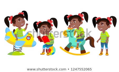 Stock photo: Girl Kindergarten Kid Poses Set Vector. Black. Afro American. Little Child. Funny Toy. Having Fun On