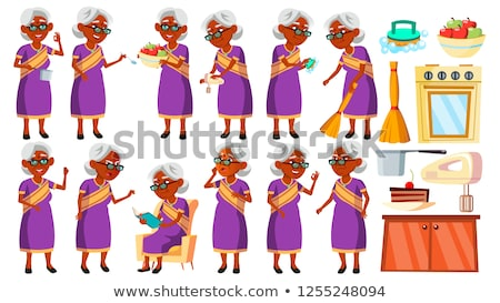 Indian Old Woman In Sari Poses Set Vector. Elderly People. Hindu. Asian. Senior Person. Aged. Cheerf Stock photo © pikepicture