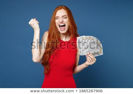 Afbeelding rijke vrouw 20s rode jurk Stockfoto © deandrobot