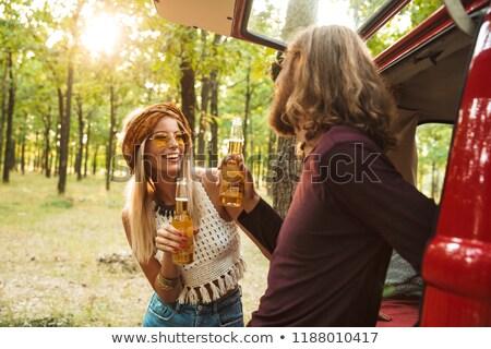 Foto heiter Hippie Paar Mann Frau lächelnd Stock foto © deandrobot