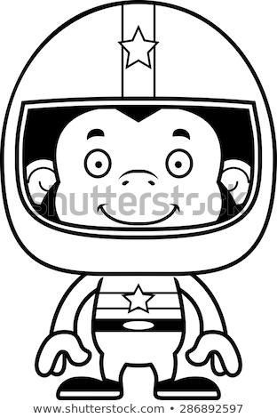 漫画 笑みを浮かべて レースカー ドライバ チンパンジー ストックフォト © cthoman